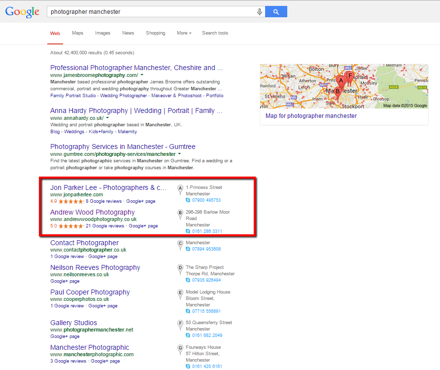 image of Google search results for photographer manchester