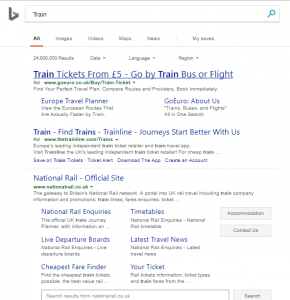 Bing Ad Example - Train Tickets